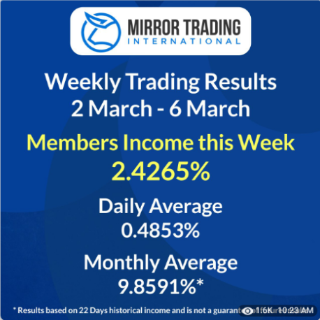 Mirror Trading International shows a weekly return of 2.4265% March 06, 2020